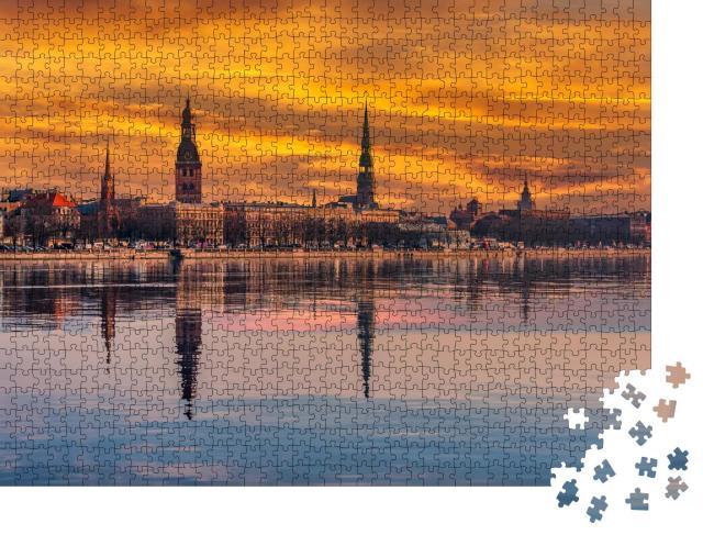 """Puzzle 1000 Teile """"Stadtbild von Riga, Lettland"""""""