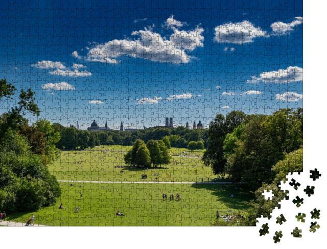 """Puzzle 1000 Teile """"Blick vom Bogen des Englischen Gartens in München"""""""