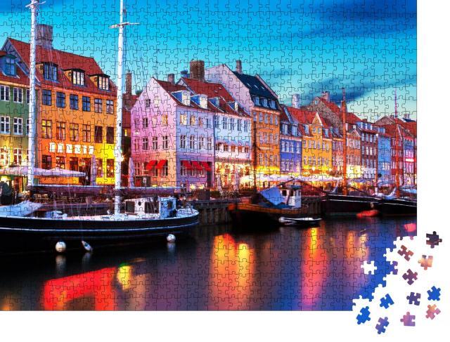 """Puzzle 1000 Teile """"Abendpanorama am Pier von Nyhavn, Kopenhagen, Dänemark"""""""