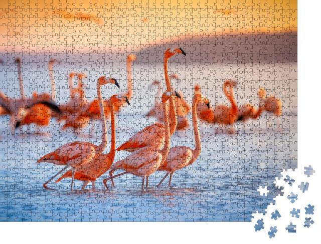 """Puzzle 1000 Teile """"Rosa Flamingos"""""""