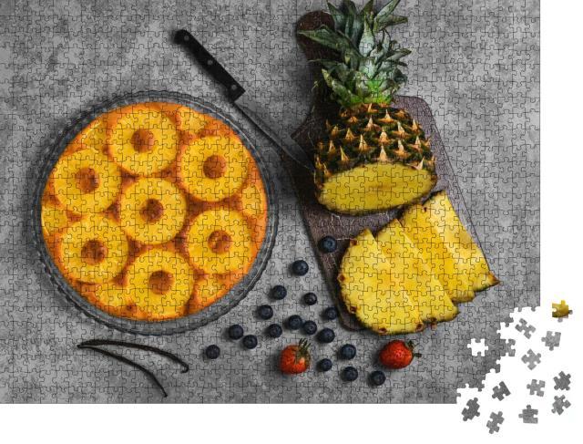 """Puzzle 1000 Teile """"Hausgemachter, saftiger Ananas-Kuchen"""""""