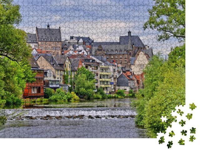 """Puzzle 1000 Teile """"Die wunderschöne Altstadt von Marburg mit Fluss Lahn"""""""