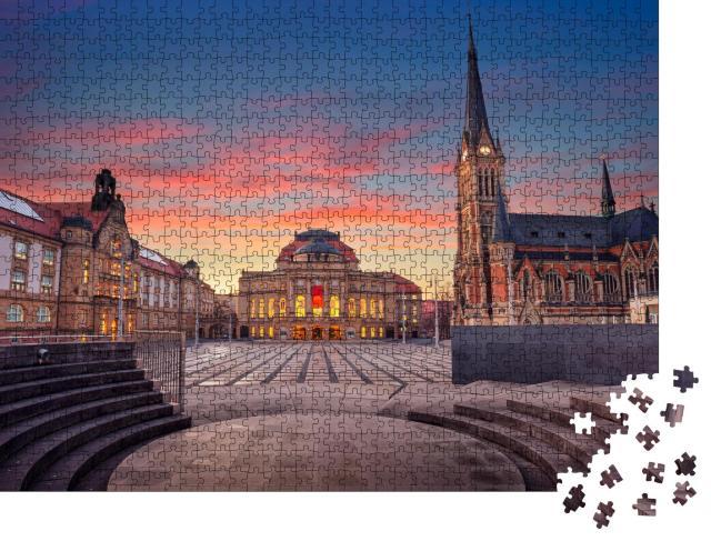 """Puzzle 1000 Teile """"Theaterplatz von Chemnitz am Abend, Deutschland"""""""