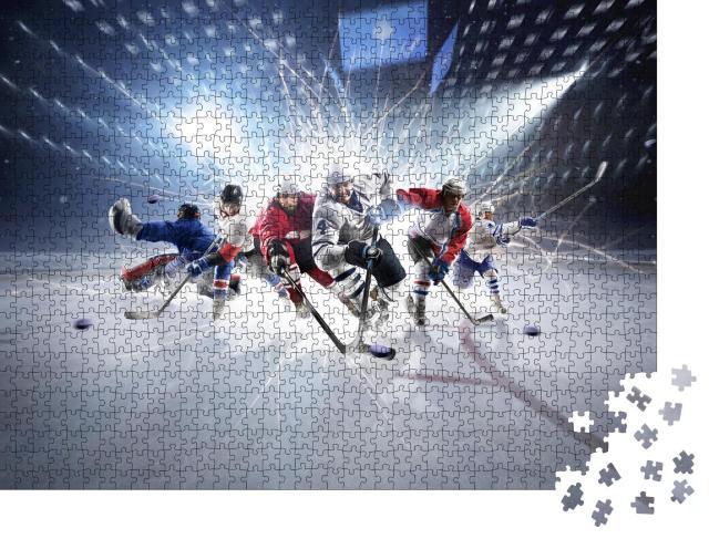 """Puzzle 1000 Teile """"Collage aus Eishockeyspielern in Aktion"""""""