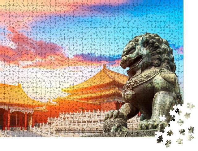 """Puzzle 1000 Teile """"Bronzelöwe in der Verbotenen Stadt, Peking, chinesische Kultursymbole"""""""