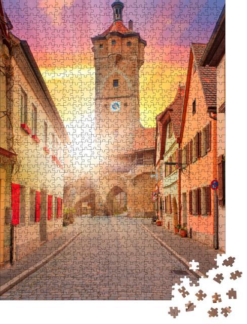 """Puzzle 1000 Teile """"Bayern: mittelalterliche Straße von Rotenburg ob der Tauber"""""""