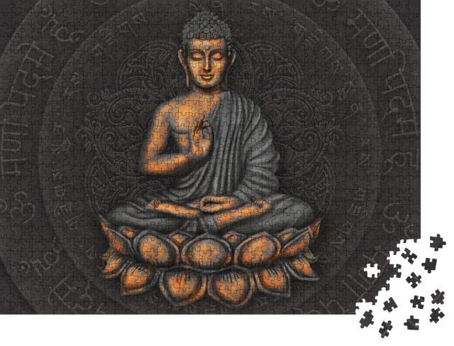 """Puzzle 1000 Teile """"Gautama Buddha vor dem Hintergrund des Mantras """""""