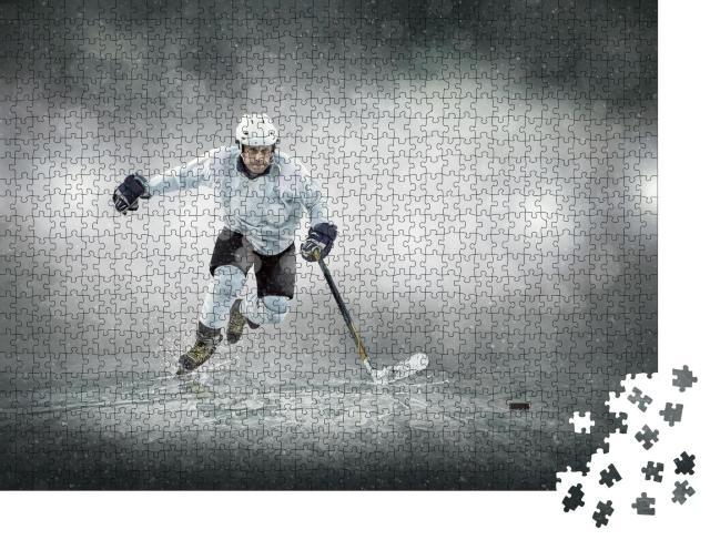 """Puzzle 1000 Teile """"Eishockeyspieler auf dem Eis"""""""
