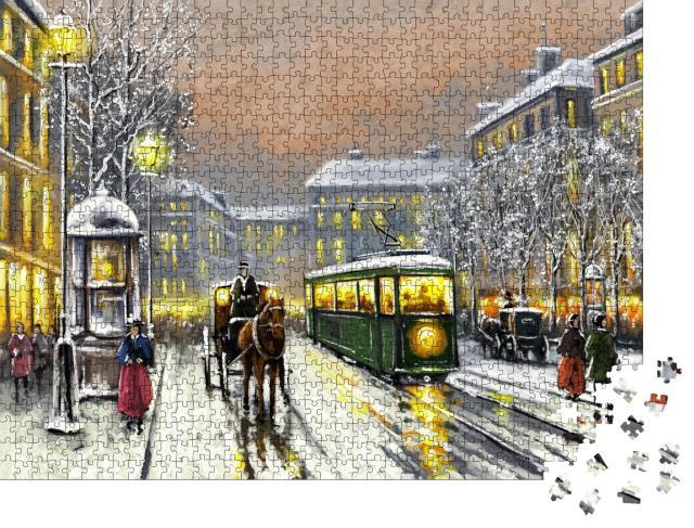 """Puzzle 1000 Teile """"Ölgemälde: Verschneite Straße in einer Stadt aus vergangener Zeit"""""""