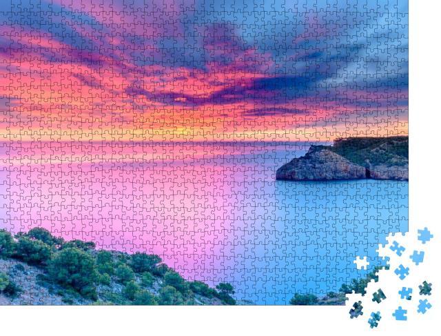 """Puzzle 1000 Teile """"Ruhige Morgendämmerung am Mittelmeer, Spanien"""""""