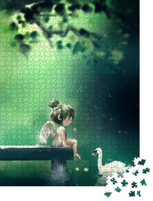 """Puzzle 1000 Teile """"Mädchen im Engelskleid sitzt am Teich und schaut auf die Schwäne"""""""