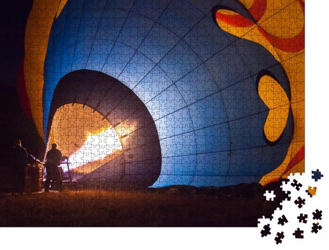"""Puzzle 1000 Teile """"Vorbereitung eines Heißluftballons vor dem Start"""""""