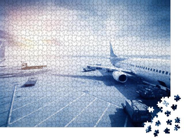 """Puzzle 1000 Teile """"Szene am Flughafen"""""""