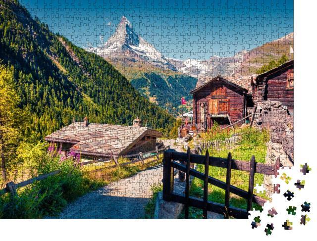 """Puzzle 1000 Teile """"Sommermorgen: Zermatt am Matterhorn, Schweiz"""""""