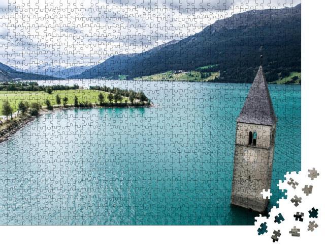 """Puzzle 1000 Teile """"Reschenpass zwischen Italien und Österreich, Landschaft mit Turm in Reschensee"""""""