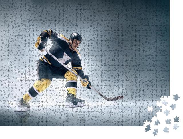 """Puzzle 1000 Teile """"Eishockeyspieler in Aktion auf dem Eis: Tor!"""""""