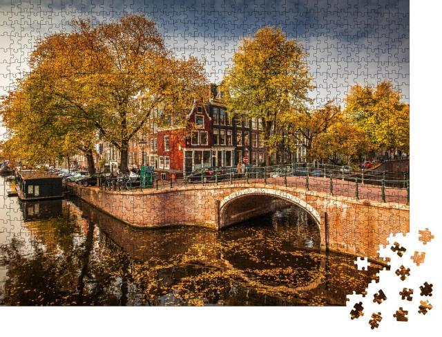 """Puzzle 1000 Teile """"Grachten im Herbst, Amsterdam, Niederlande"""""""