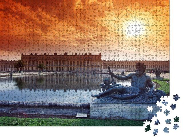 """Puzzle 1000 Teile """"Waschbecken und Statue im Schloss von Versailles"""""""