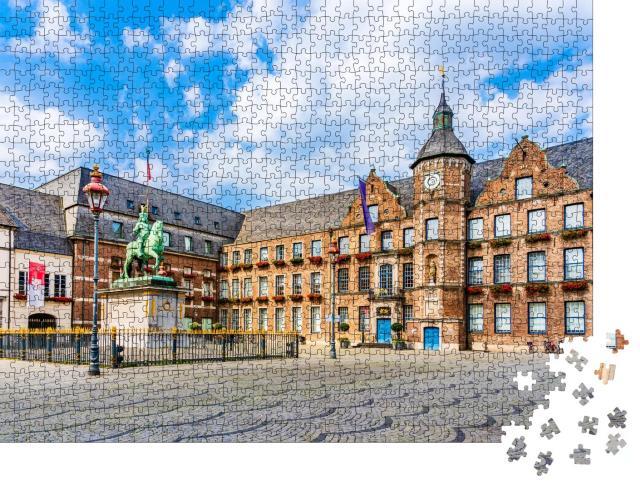 """Puzzle 1000 Teile """"Rathaus und Reiterstandbild von Jan Wellem, Düsseldorf"""""""