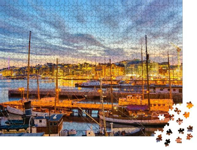 """Puzzle 1000 Teile """"Osloer Hafen bei Nacht, Norwegen"""""""