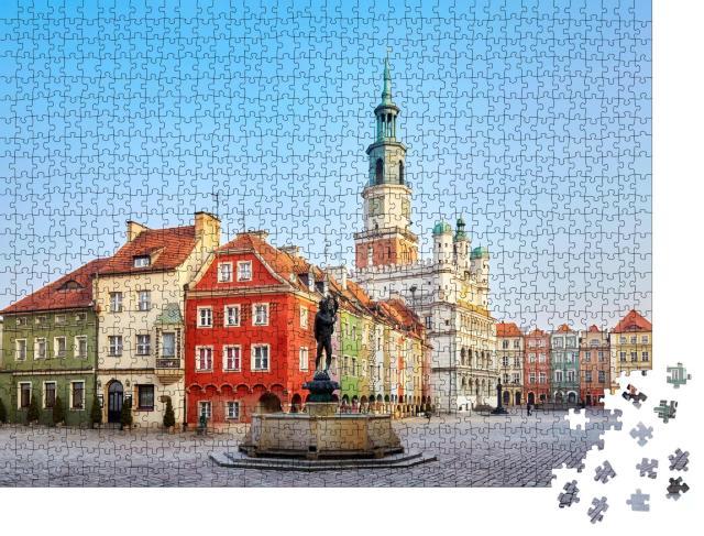 """Puzzle 1000 Teile """"Hauptplatz in der Altstadt von Poznan, Polen."""""""