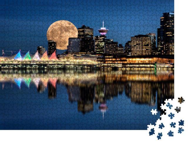 """Puzzle 1000 Teile """"Vancouver, Kanada, bei Vollmond, Stanley Park in der Nacht"""""""