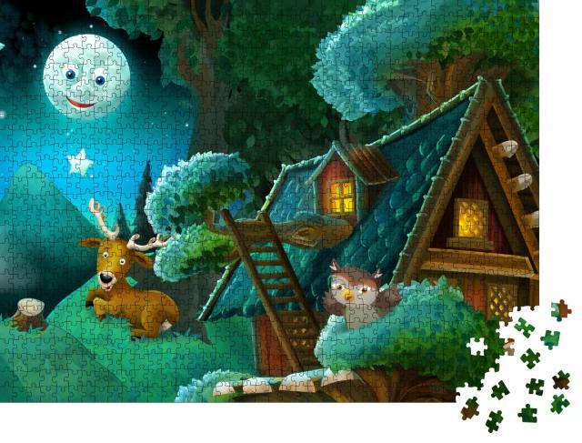 """Puzzle 1000 Teile """"Märchenhafte Illustration: Tiere im Wald"""""""