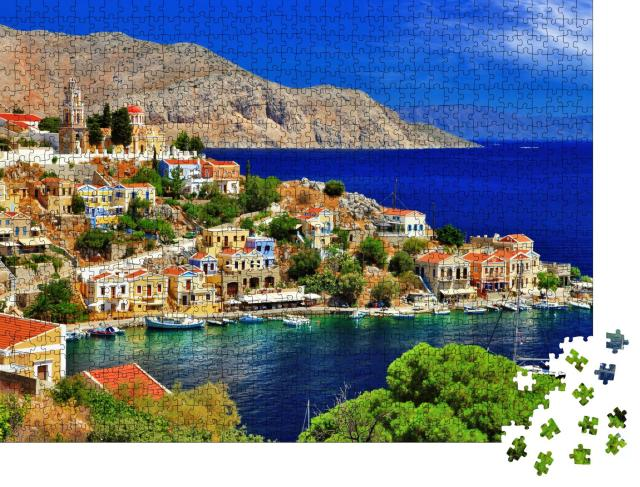"""Puzzle 1000 Teile """"Wunderbares Griechenland: Insel Symi, Dodekanes"""""""
