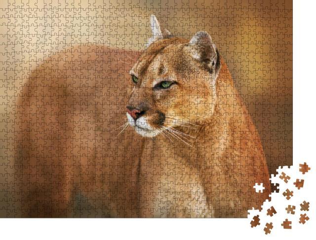 """Puzzle 1000 Teile """"Puma, anvisierender Blick aus grünen Augen"""""""