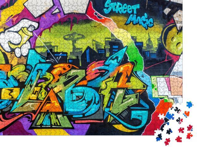 """Puzzle 1000 Teile """"Wand ist mit abstrakten Zeichnungen dekoriert"""""""