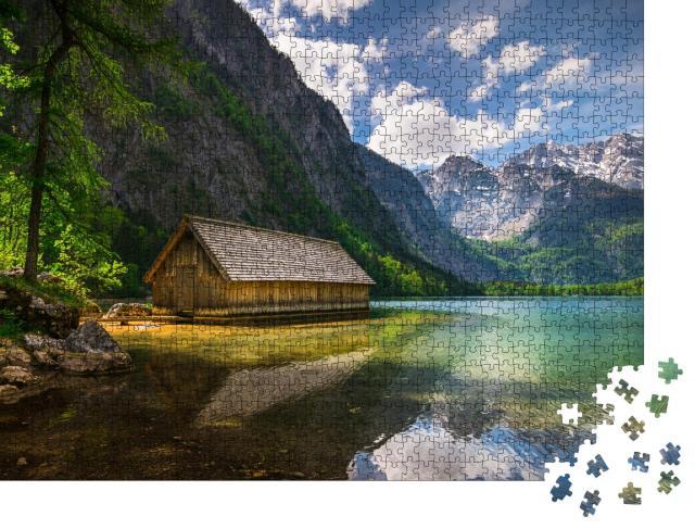 """Puzzle 1000 Teile """"Einsame Holzhütte an einem Bergsee"""""""