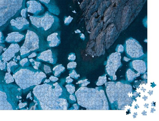 """Puzzle 1000 Teile """"Luftbild von Eisbergen, schmelzende Gletscher von Grönland"""""""