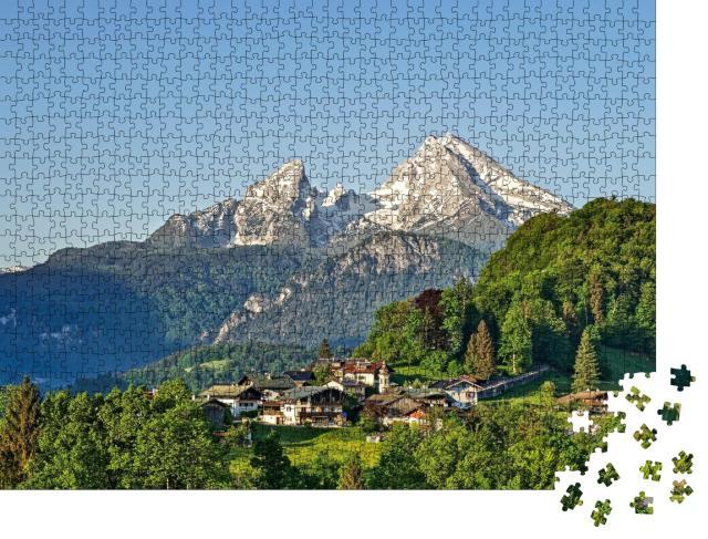 """Puzzle 1000 Teile """"Berglandschaft der bayerischen Alpen mit Berchtesgaden und Watzmann"""""""