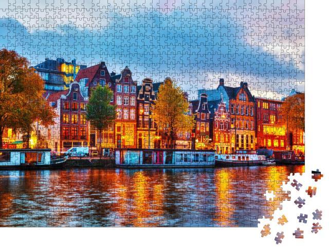 """Puzzle 1000 Teile """"Amsterdam im Sonnenuntergang, Niederlande"""""""
