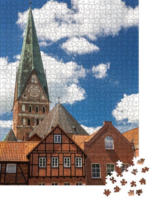 """Puzzle 1000 Teile """"Lüneburg: Traditionelle deutsche Häuser, Niedersachsen"""""""