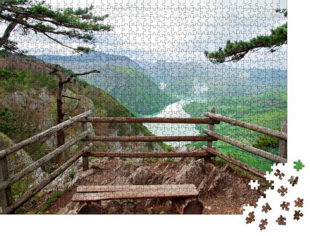 """Puzzle 1000 Teile """"Serbien: Landschaft mit Fluss Drina, Berg und See"""""""