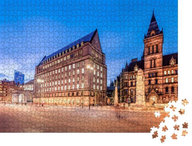 """Puzzle 1000 Teile """"Das alte und das neue Rathaus im Stadtzentrum von Manchester, England"""""""