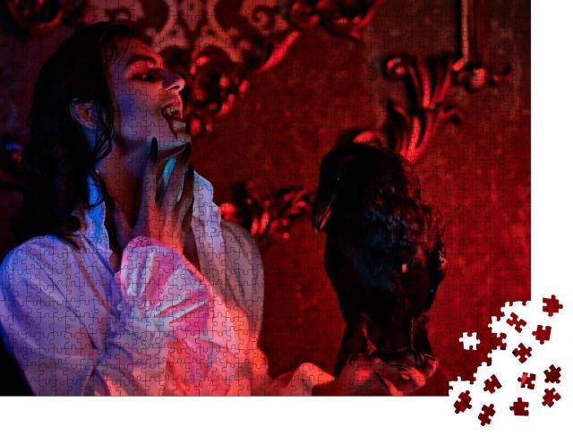 """Puzzle 1000 Teile """"Ein blutrünstiger Vampir steht in der Nacht mit einem schwarzen Raben im Schloss"""""""