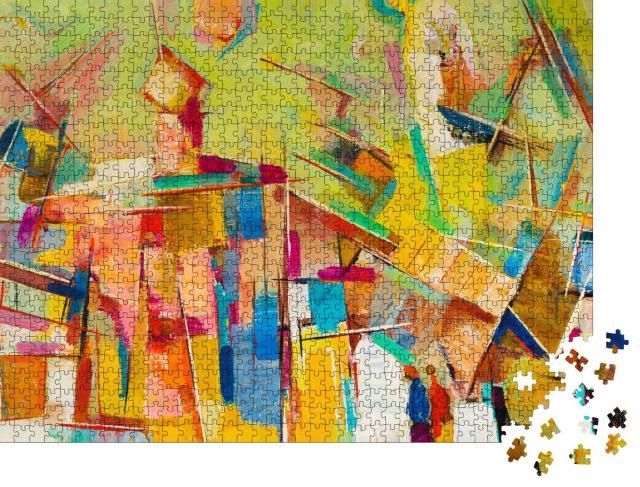 """Puzzle 1000 Teile """"Abstraktes buntes Ölgemälde auf Leinwand"""""""