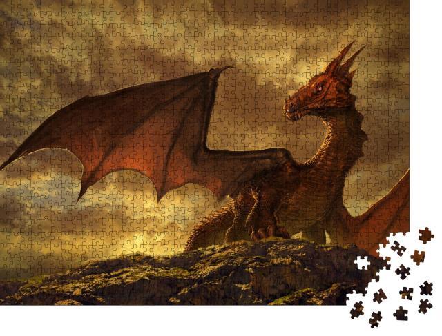 """Puzzle 1000 Teile """"Wunderschöne Fantasy mit einem roten Drachen"""""""