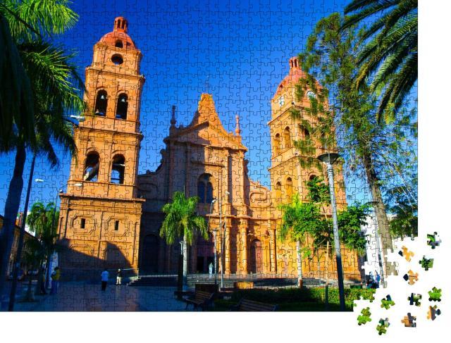 """Puzzle 1000 Teile """"Kathedrale aus rotem Backstein, Santa Cruz de la Sierra, Bolivien"""""""