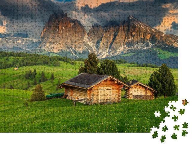 """Puzzle 1000 Teile """"Frühling auf der Seiser Alm mit Langkofelgruppe, Dolomiten, Italien"""""""