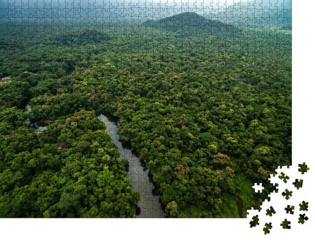 "Puzzle 1000 Teile ""Luftaufnahme eines Flusses im Regenwald, Lateinamerika"""
