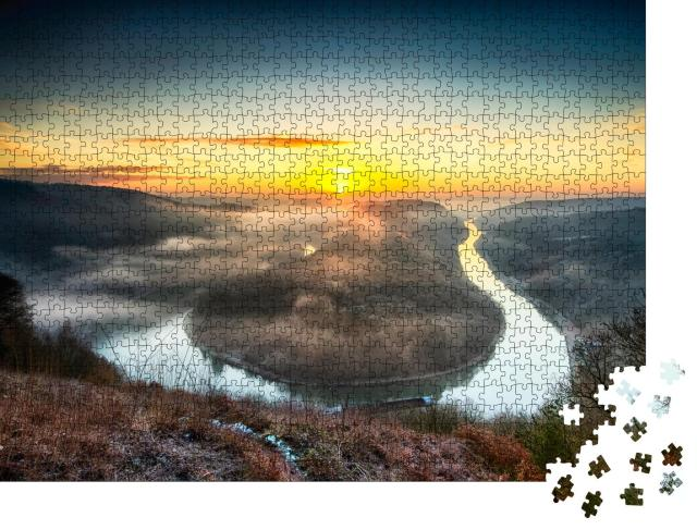 """Puzzle 1000 Teile """"Saarschleife, Kehrtwende des Flusses, Deutschland"""""""