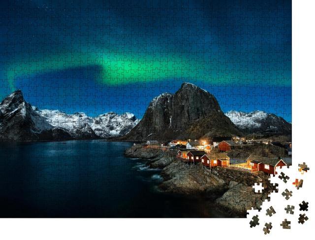 """Puzzle 1000 Teile """"Traditionelle norwegische Fischerhütten, Insel Hamnøy, Reine auf den Lofoten, Nordnorwegen"""""""