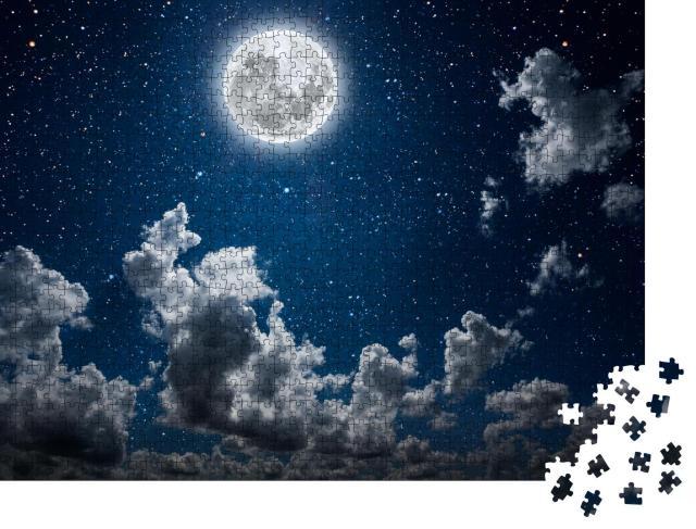 """Puzzle 1000 Teile """"Schöner Nachthimmel mit Sternen, Mond und Wolken"""""""