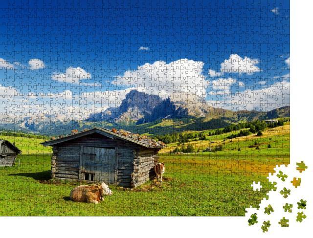 """Puzzle 1000 Teile """"Kühe auf der Seiser Alm, Südtirol"""""""