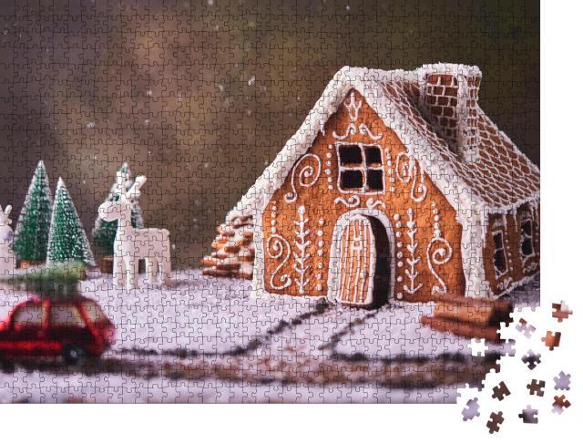 """Puzzle 1000 Teile """"Kleines Lebkuchenhaus in einer Weihnachtslandschaft"""""""
