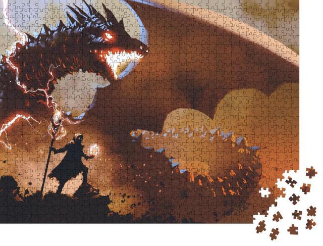 """Puzzle 1000 Teile """"Schwarzer Zauberer mit einem Zauberstab, der den Drachen beschwört"""""""