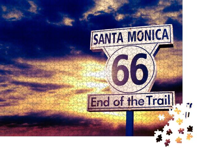 """Puzzle 1000 Teile """"Route 66: Schild bei Sonnenuntergang"""""""